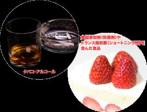 アルティス歯科・口腔外科 老化の原因物質 タバコ・アルコール・食品添加物
